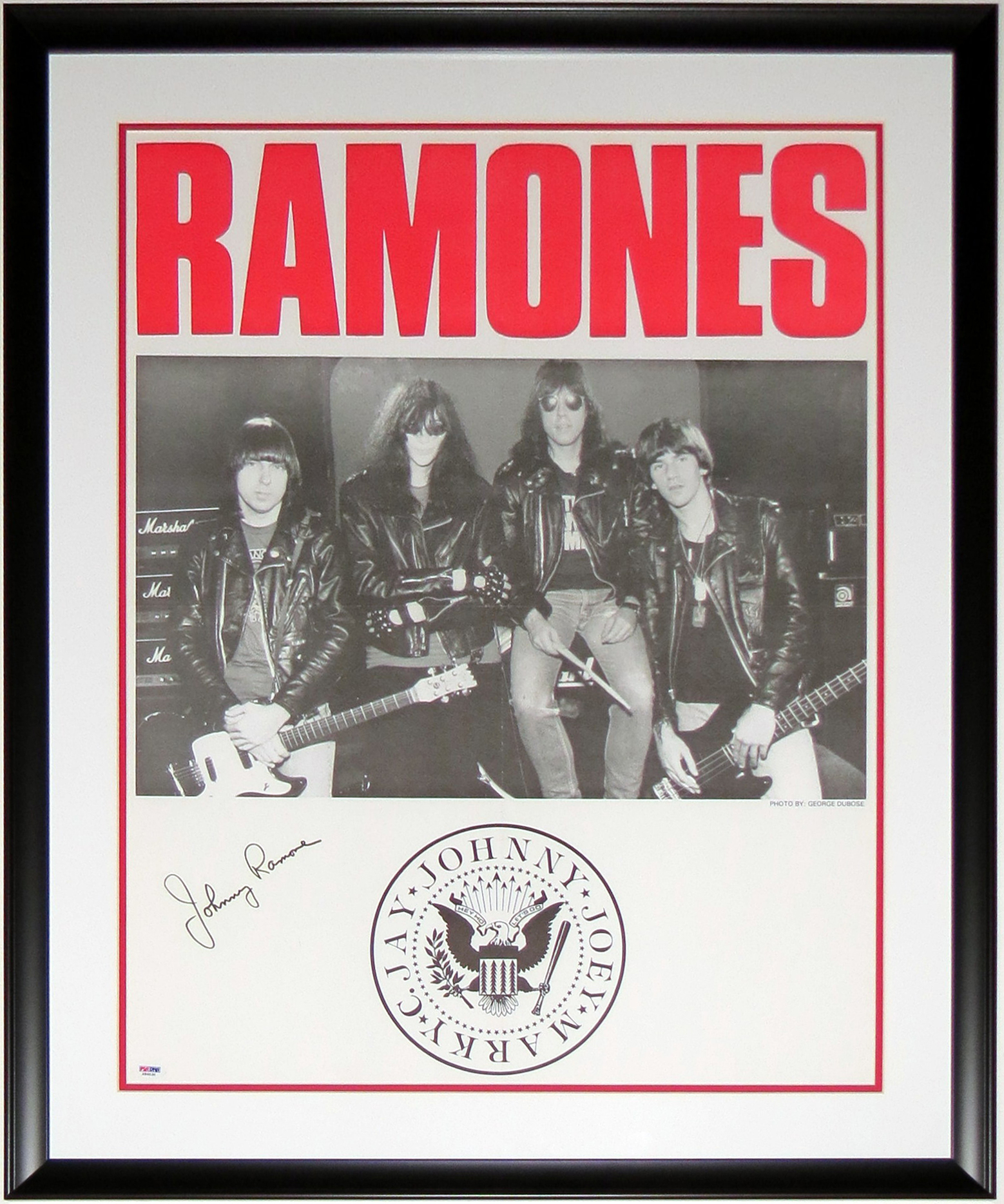 Johnny Ramone Signed 20x24 The Ramones Tour Poster - PSA DNA COA Authenticated - Professionally Framed