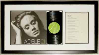 Adele Signed 21 Album & Lyric Sheet - JSA COA Authenticated - Professionally Framed 32x18