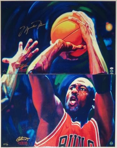 Michael Jordan Signed 2 Part Chicago Bulls Last Shot Painting #d /10 - UDA COA Upper Deck Authenticated - Professionally Framed 36x52