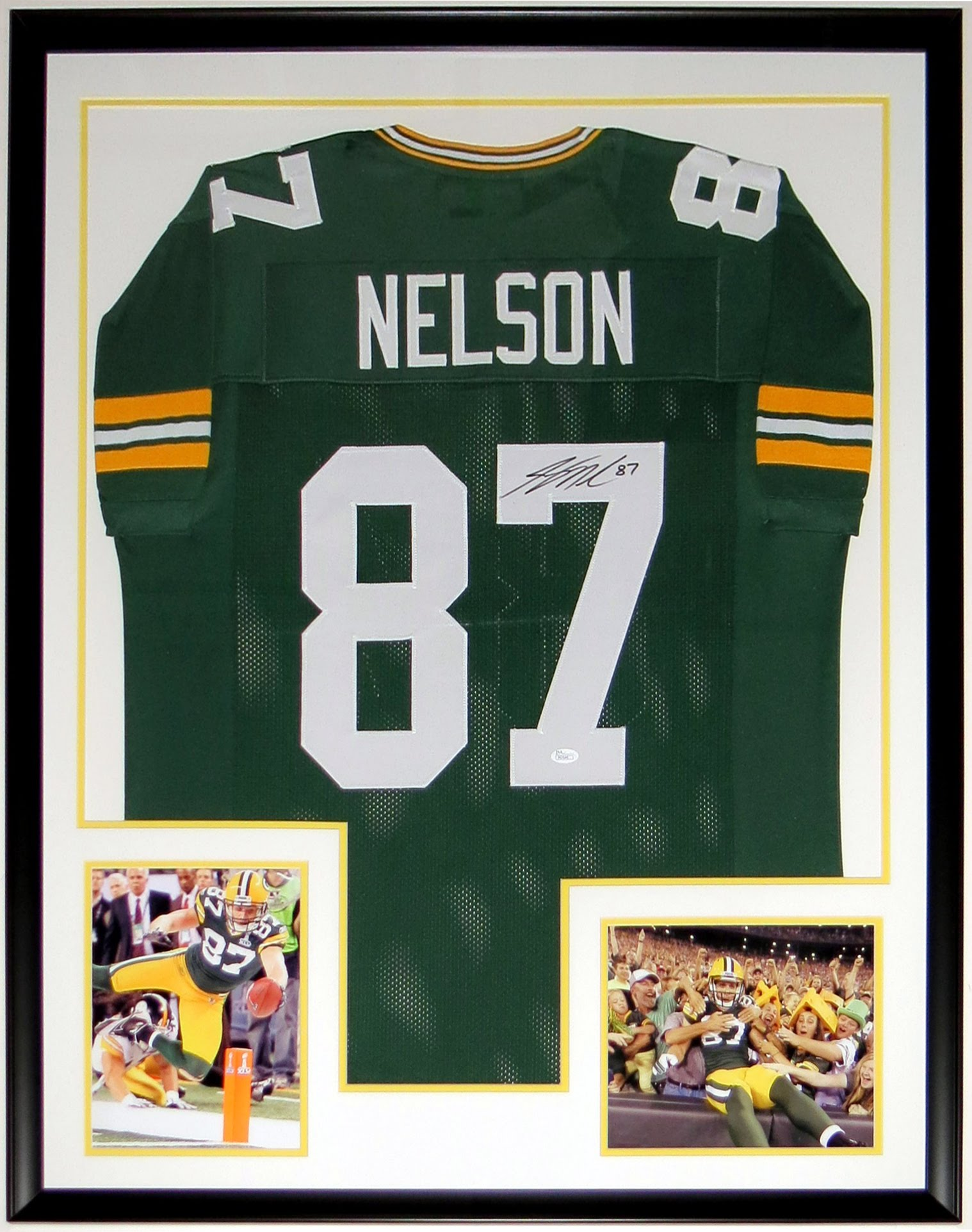 Jordy Nelson Signed Green Bay Packers Jersey - JSA COA Authenticated - Professionally Framed & 2 8x10 Photo 34x42
