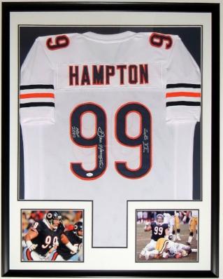 Dan Hampton Signed Chicago Bears Jersey - JSA COA Authenticated - Professionally Framed & 2 8x10 Photo 34x42
