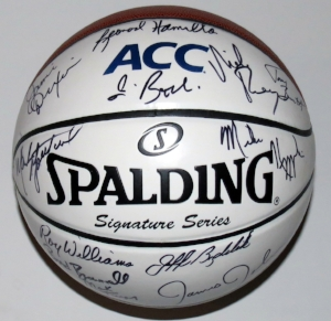 2017 ACC Tournament Head Coaches Signed Spalding Full Size Basketball - BSI COA Authenticated