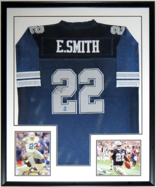 Emmitt Smith Signed Dallas Cowboys Jersey - ES COA Authenticated - Professionally Framed & 2 8x10 Photo 34x42