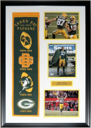 Jordy Nelson Signed Green Bay Packers Sports Illustrated & 8x10 Photo Compilation - PSA DNA COA Authenticated - Professionally Framed 26x36