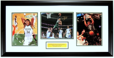 Giannis Antetokounmpo Signed Milwaukee Bucks 8x10 Photo Compilation - G.A. COA Authenticated - Professionally Framed & Plate 34x16