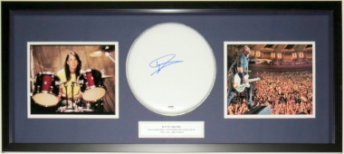 Dave Grohl Signed Drum Head - PSA DNA COA Authenticated - Professionally Framed & Nirvana & Foo Fighters 8x10 Photo 34x16