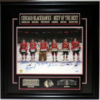Chicago Blackhawks Ambassador 16x20 Photo Signed by Patrick Kane, Denis Savard, Tony Esposito, Stan Mikita, Bobby Hull, Jonathan Toews - Frameworth Sports COA Authenticated - Professionally Framed