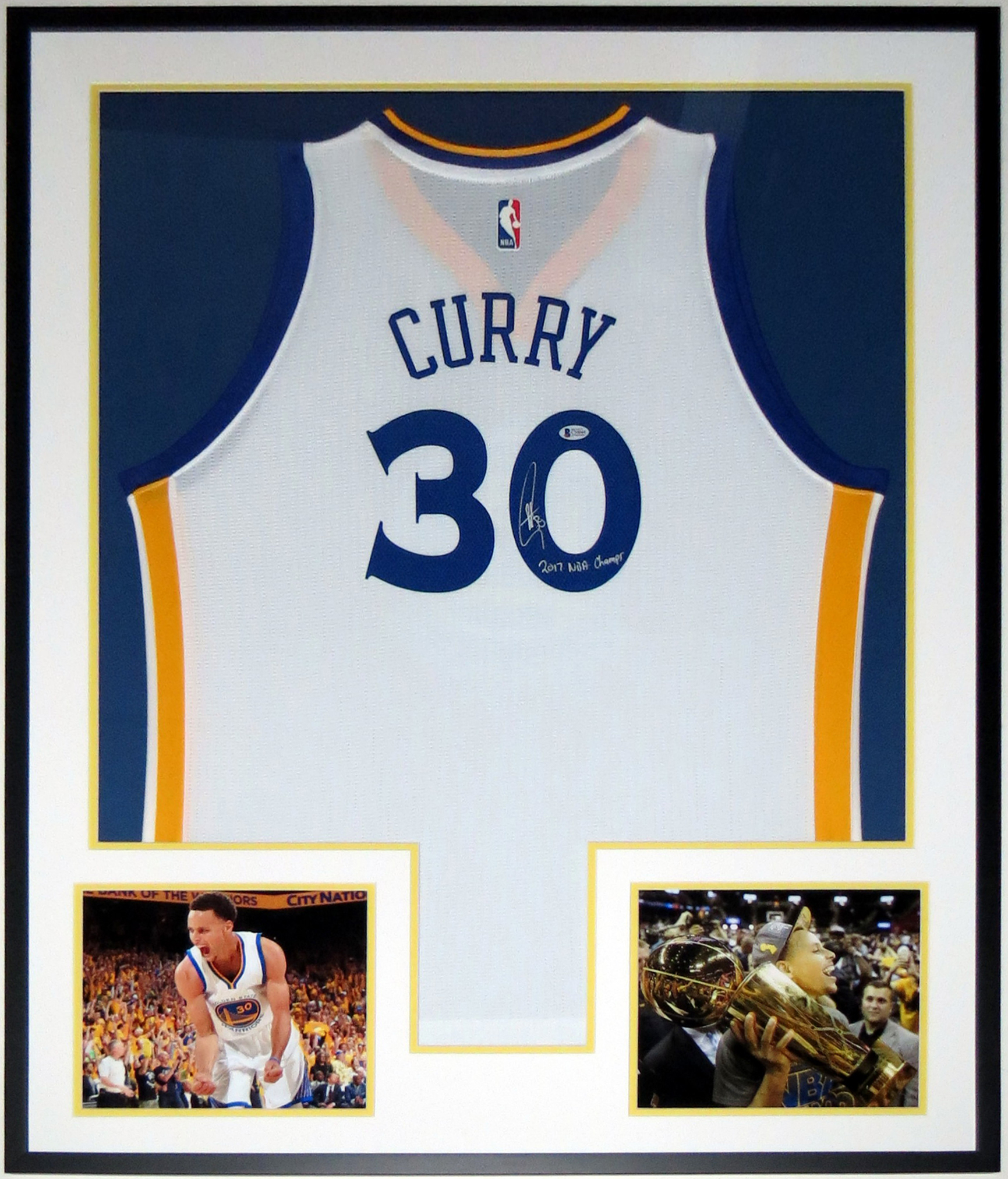 Stephen Curry Autographed Warriors Jersey & 2017 NBA Champs Inscription - BAS Beckett Authenticated COA Authenticated - Professionally Framed & 2 8x10 Photo 34x42