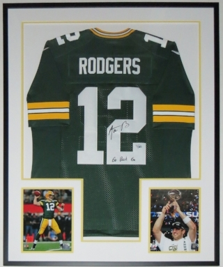 Aaron Rodgers Signed Green Bay Packers Nike Jersey and Go Pack Go Inscription - Fanatics COA Authenticated - Professionally Framed & Two Super Bowl 8x10 Photo 34x42