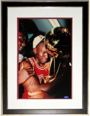 Michael Jordan Signed Chicago Bulls 1991 NBA Celebration 16x20 Photo - Upper Deck Authenticated UDA COA - Professionally Framed