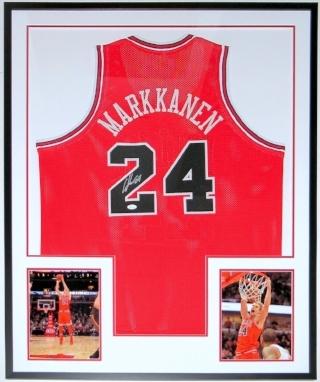 Lauri Markkanen Signed Chicago Bulls Jersey - JSA COA Authenticated - Professionally Framed & 2 8x10 Photo 34x42