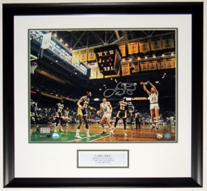 Larry Bird Signed Boston Celtics NBA Finals 16x20 Photo - Mounted Memories Fanatics COA Authenticated - Professionally Framed and Plate