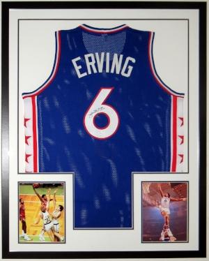 Julius Erving - Dr. J. - Signed Philadelphia 76'ers Jersey - JSA COA Authenticated - Professionally Framed with 2 8x10 Photographs 34x42
