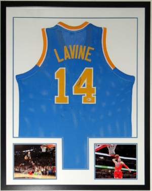 Zach Lavine Autographed UCLA Bruins Jersey - BAS Authenticated COA - Custom Framed & All Star Game & Chicago Bulls 8x10 Photo 34x42