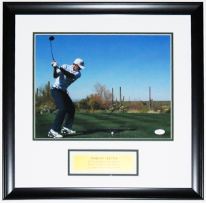 Jordan Spieth Signed 11x14 Photo - JSA COA Authenticated - Professionally Framed with Major Championships Plate