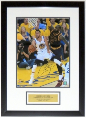 Stephen Curry Signed Golden State Warriors NBA Finals 11x14 Photo - BAS Becket Authenticated COA - Professionally Framed & Plate