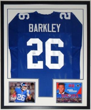 Saquon Barkley Signed New York Giants - JSA COA Authenticated - Professionally Framed & 2 Rookie Year 8x10 Photo 34x42