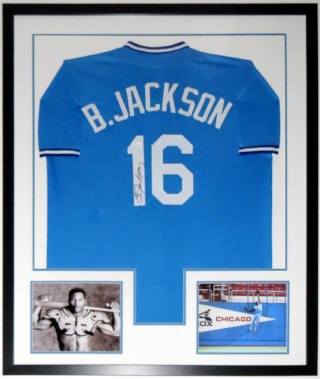 Bo Jackson Signed Jersey with Nike Bo Knows 8x10 Photograph - JSA COA Authenticated - Professionally Framed 34x42