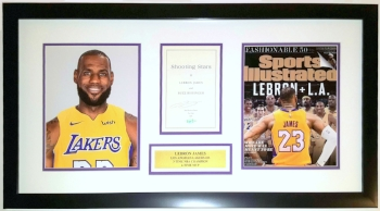 LeBron James Signed Los Angeles Lakers Shooting Stars 8x10 Photo Compilation - Upper Deck Authenticated UDA - Professionally Framed & Plate