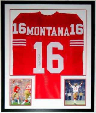 Joe Montana Signed San Francisco 49ers Jersey - JSA COA Authenticated - Professionally Framed & 2 Super Bowl 8x10 Photo - 34x42