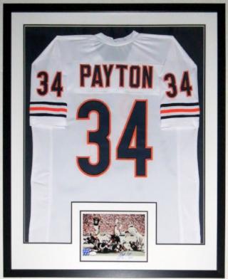 Walter Payton Signed Chicago Bears 8x10 Photo & Jersey Compilation - JSA COA Authenticated - Professionally Framed 34x42