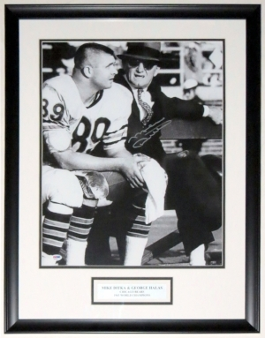 Mike Ditka with George Halas Signed 1963 Chicago Bears 16x20 Photo - PSA DNA COA authenticated - Professionally Framed & Plate