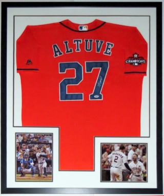 Jose Altuve Signed Houston Astros 2017 World Series Champions Jersey - PSA DNA COA Authenticated - Professionally Framed & 2 8x10 Photo 34x42
