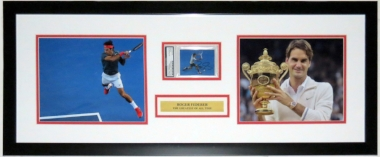 Roger Federer Signed 8x10 Photo & Card Compilation - PSA DNA COA Authenticated - Professionally Framed & Plate