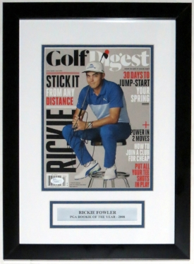 Rickie Fowler Signed Golf Digest Magazine - JSA COA Authenticated - Professionally Framed & Plate