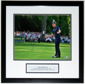 Luke Donald Signed 11x14 Photo - Beckett Authentication Services Authenticated BAS COA - Professionally Framed & Plate