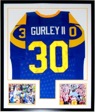 Todd Gurley Signed Los Angeles Rams Jersey - Beckett Authentication BAS COA - Professionally Framed & 2 8x10 Photo 34x42