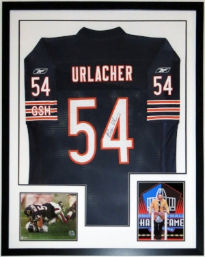 Brian Urlacher Signed Chicago Bears Jersey - BSI Authenticated COA - Professionally Framed & 2018 Hall of Fame Induction Photo 34x42