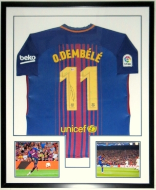Ousmane Dembele Signed FC Barcelona Jersey - Beckett Authentication COA  - Professionally Framed & 2 8x10 Photo 34x42