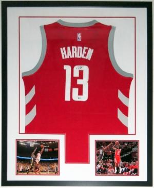 James Harden Signed Nike Houston Rockets Jersey - JSA COA Authenticated - Professionally Framed & 2 8x10 Photo 34x42