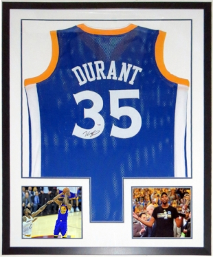Kevin Durant Autographed Nike Golden State Warriors Jersey - PSA DNA COA Authenticated - Professionally Framed & 2 NBA Finals 8x10 Photo 34x42