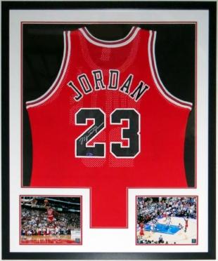 Michael Jordan Signed Nike Chicago Bulls Jersey -UDA COA Upper Deck Authenticated - Professionally Framed & 2 8x10 Photo