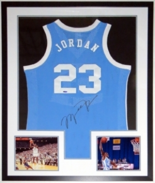 Michael Jordan Signed Nike North Carolina Tar Heels Jersey - UDA COA Upper Deck Authenticated - Professionally Framed & 2 8x10 Photo