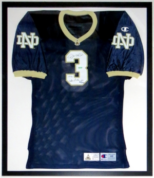 Joe Montana Signed Champion Game Model Notre Dame Irish Jersey with 1977 National Champions Inscription L.E. #'d /77 - UDA COA Upper Deck Authenticated - Professionally Framed 34x42
