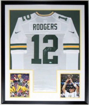 Aaron Rodgers Signed Nike Green Bay Packers Jersey - Fanatics COA Authenticated - Professionally Framed & 2 Super Bowl 8x10 Photo 34x42