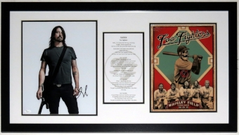 Dave Grohl Signed 11x14 Photo and Foo Fighters Tour Poster Compilation - JSA COA Authenticated - Professionally Framed 32x20