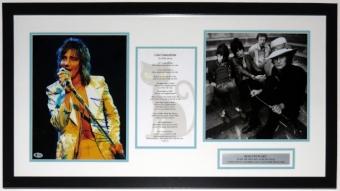 Rod Stewart Signed 11x14 Tour Photo and Lyrics Compilation - Beckett Authentication Services BAS COA - Professionally Framed 32x20