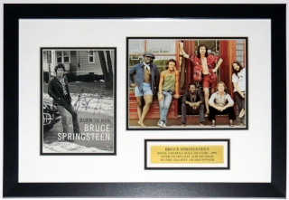 Bruce Springsteen Signed Born To Run Cover and E Street Band Photo Compilation - BSI Authenticated COA - Professionally Framed & Plate