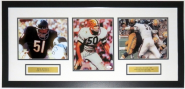 Dick Butkus Signed Chicago Bears 8x10 Photo Compilation - JSA COA Authenticated - Professionally Framed & Plate 34x16
