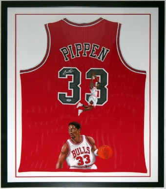 Scottie Pippen Signed and Hand Painted Jersey - PSA DNA COA Authenticated -Professionally Framed 34x42