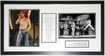 Roger Daltrey Signed The Who 11x14 Photo and Lyrics Compilation - BAS Beckett Authentication Services COA - Professionally Framed & Plate 34x20