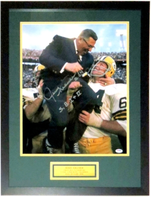 Jerry Kramer Signed Green Bay Packers 16x20 Photo with Vince Lombardi & SB I + II Inscription - PSA DNA COA Authenticated - Custom Framed & Plate
