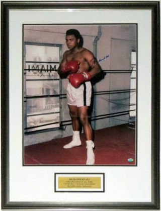 Muhammad Ali Signed 16x20 Photo - Mounted Memories COA Authenticated - Professionally Framed & Greatest of All Time Plate