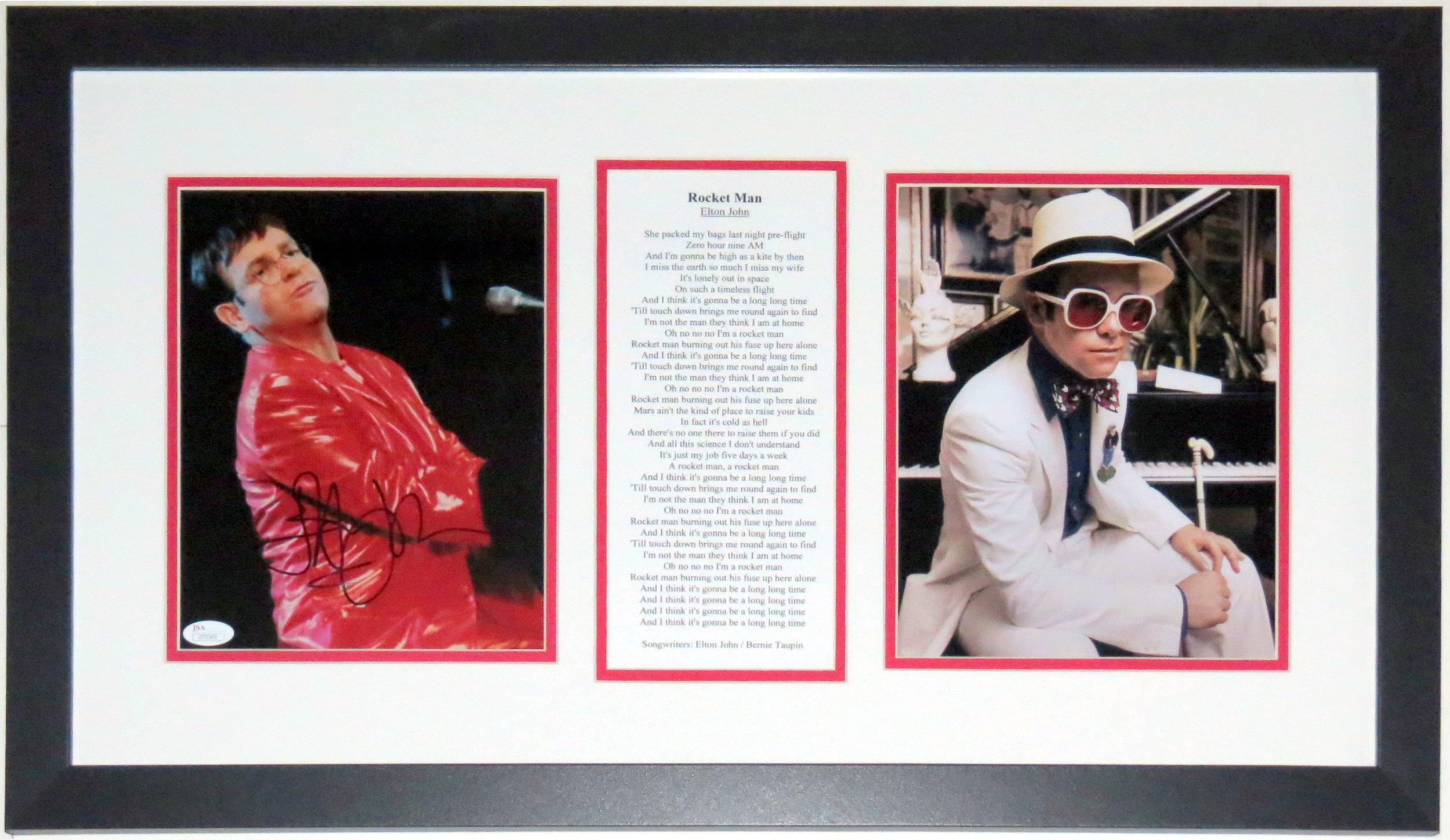 Elton John Signed Tour 8x10 Photo & Greatest Hits Album Cover & Rocket Man Lyrics - JSA COA Authenticated - Professionally Framed 32x16