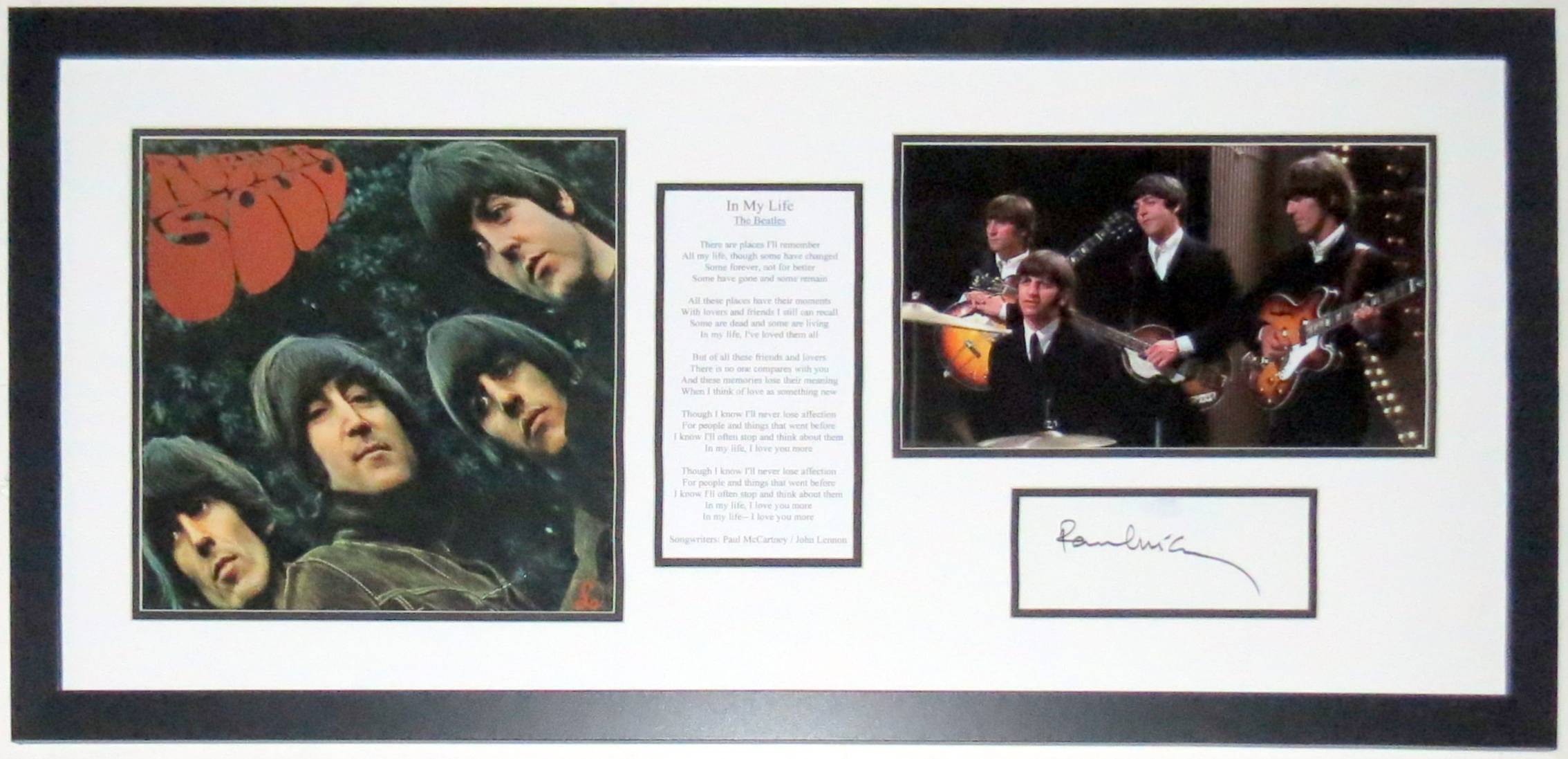 Paul McCartney Signed Beatles Rubber Soul Album Lyrics & Photo Compilation - PSA DNA COA Authenticated - Custom Framed 34x20