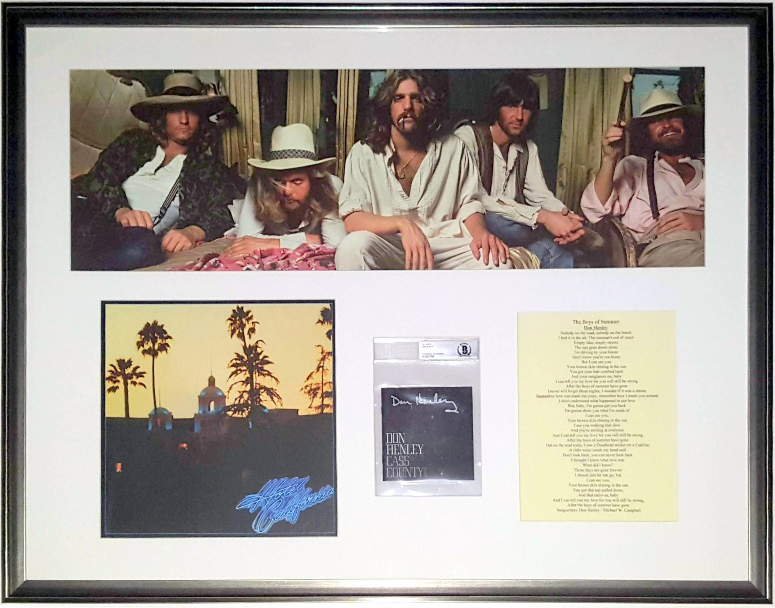Don Henley Signed Eagles Hotel California Album Compilation - Beckett Authentication Services COA - Professionally Framed 38x30
